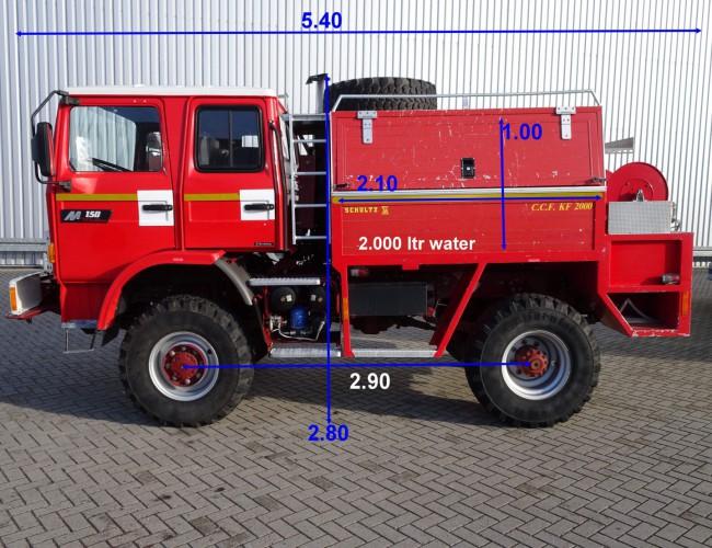 Renault M150 Midliner 4x4 feuerwehr - fire brigade - brandweer - 2.000 ltr. water tank - pomp - Mannschaft TT 3316
