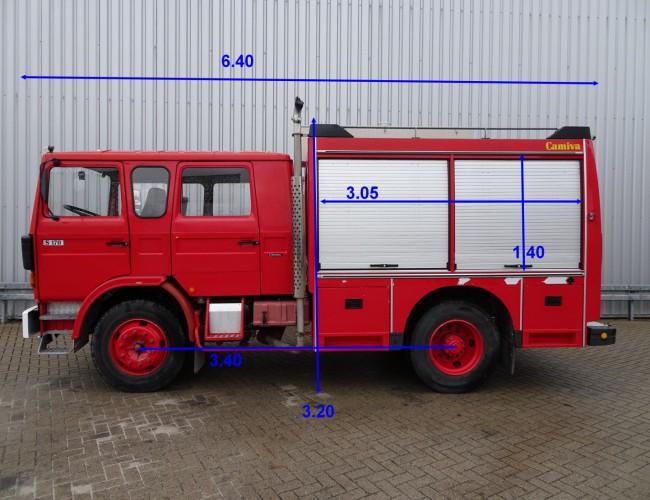 Renault Camiva S170 feuerwehr - fire brigade - Dubble cabin, mannschaftskabine - 3.400 ltr  water tank- pomp TT 3597