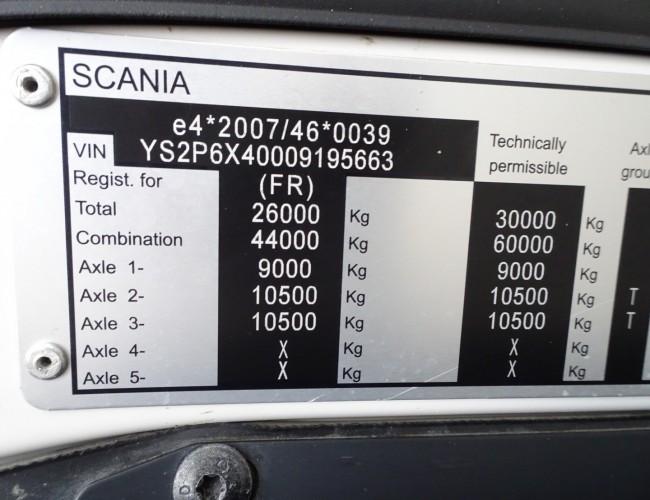 Scania P410 6x4 - Hiab 188 ES-3 Kraan Crane Kran, 3 side tipper TT 3777