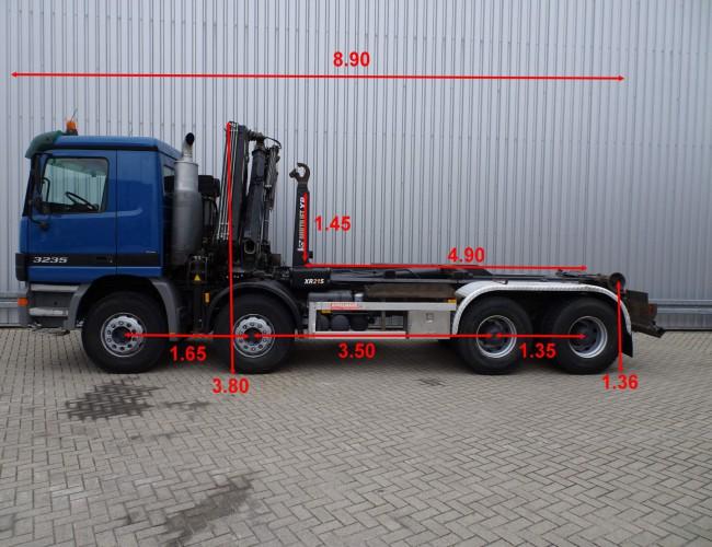 Mercedes-Benz 3235 8x4 - Hiab 16TM kraan, Crane, Kran - 21t. Haakarm, Hooklift, Abrolkipper TT 3744