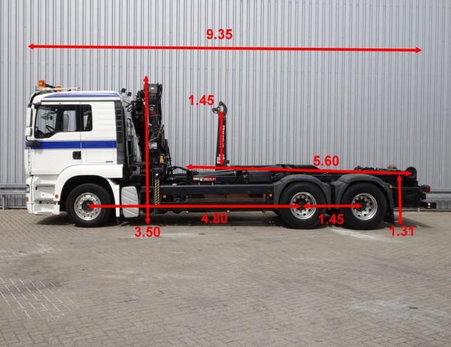 MAN TGA 26.440 6x4, 11TM Kraan, Crane, Kran - 25T Haakarm, Hooklift, Abrolkipper, BB, Manuel TT 4247