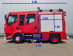 Renault Midlum 180.10 Doppelcabine - 1.500 ltr watertank - Feuerwehr, Fire brigade TT 4298